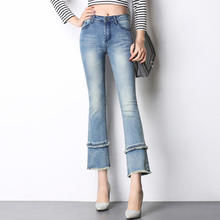Denim jeans casual flare pants for women elastic 3 colour cotton blend spring autumn summer new fashion slimming capris tsd0701