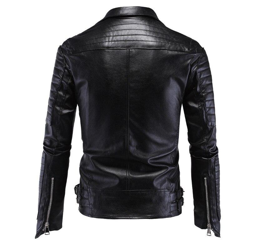 ZOEQO mężczyźni skórzana kurtka Jaqueta De Couro Masculina męskie kurtki ze sztucznej skóry czaszka Punk Veste Cuir Homme motocykl skórzana w Płaszcze ze sztucznej skóry od Odzież męska na  Grupa 2
