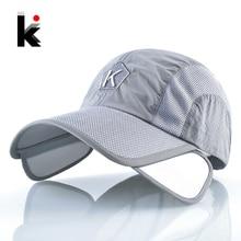 87bd5667a61 Summer Baseball Cap Men Women Retractable Visor K Embroidery Snapback Mesh  Hat Fishing Riding Quick-
