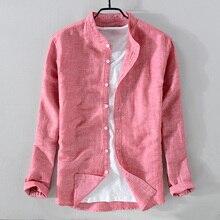 Camisa de lino de manga larga para hombre, ropa de marca de algodón sólido, informal con cuello levantado, envío directo