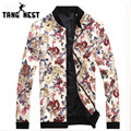 TANGNEST 2017 Fashion Floral Printing Men Jacket Hot Sale Spring Casual Zipper Jacket 5 Colors Style Jacket Men Size 3XL MWJ2340