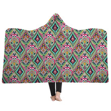 Flower Mandala Printed Hooded Blanket Sherpa Fleece Warm For Bed Sofa Adult Kid Wearable Plush Mantle Home Travel Mantas