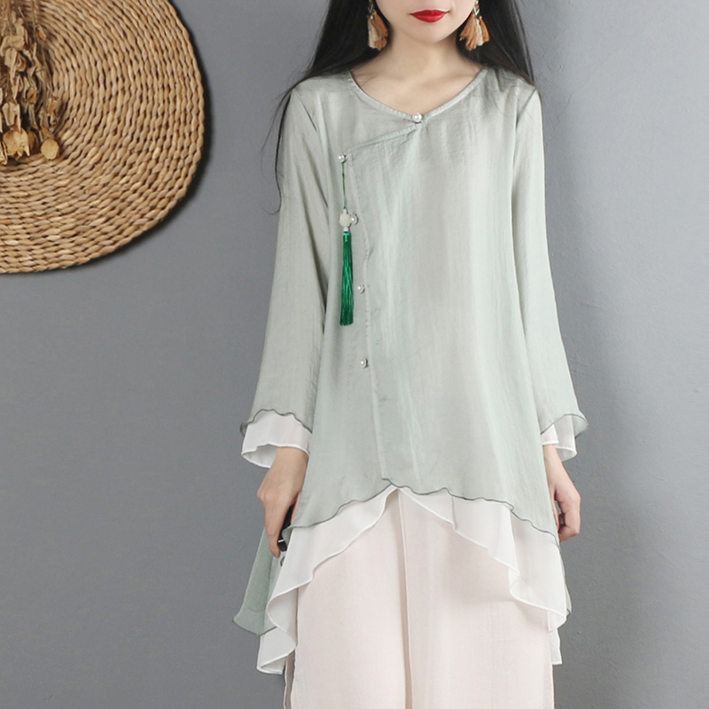 2020 Tang Suit Chinese Style Shirt Traditional Chinese Clothing For Women Vintage Irrgular Long Linen Hanfu Top Tops
