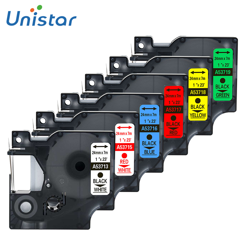 Unistar 6pcs 53713 compatible Dymo D1 Label Printer Tapes Dymo 53713 53715 53716 53718 53719 Combo