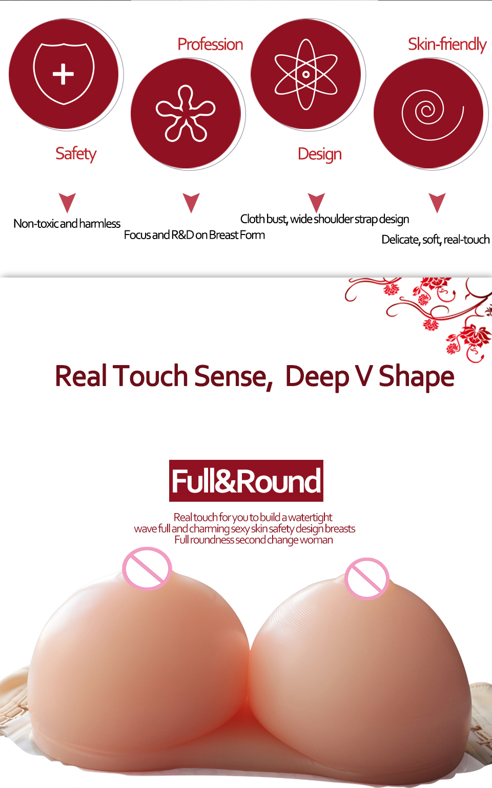 Silicone Enhancers Lifelike False Boobs Fake Breast Forms for Crossdresser Transgender Mastectomy02