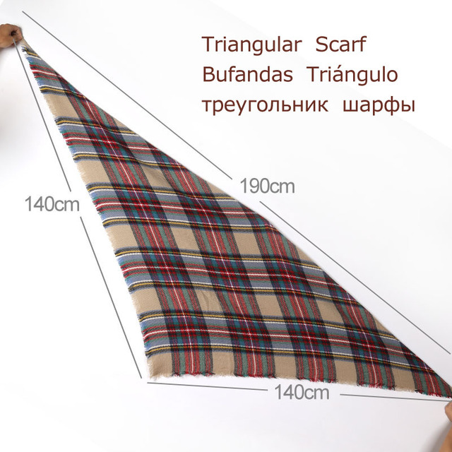 Triangle Scarf For Women Shawl Cashmere Plaid Scarves 3