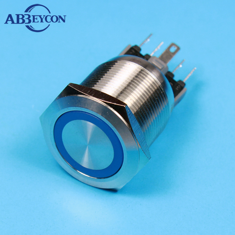 1 Piece 25mm Metal Push Button Switch LED Illuminated Blue Color 12V Latching Stainless Steel Button Switch 1NO1NC Flat Head 1 x 16mm od led ring illuminated latching push button switch 2no 2nc
