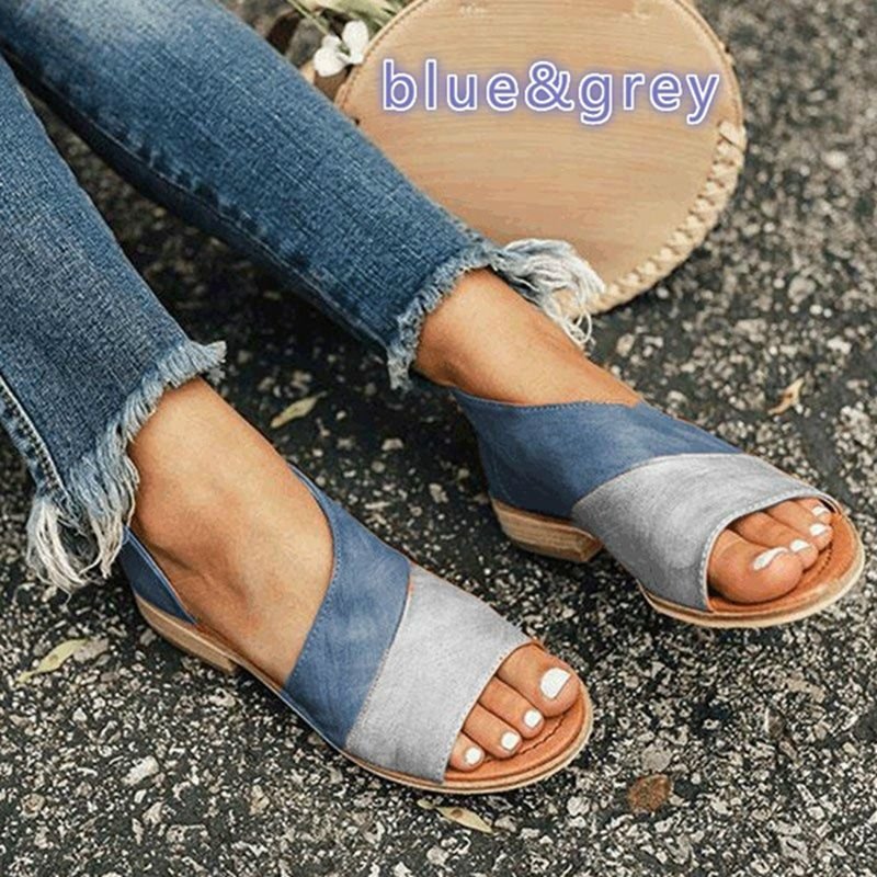 SHUJIN Women Sandals Summer Shoes Low-Heels Plus-Size Peep-Toe for Causal Mujer 35-43