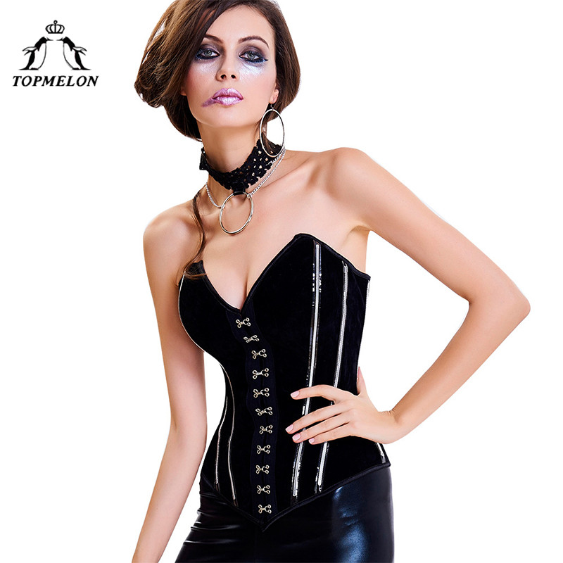 TOPMELON   Bustier     Corset   Retro Steampunk Gothic Vintage Striped Shows Cosplay Corselet Women Push Up V Neck   Corsets   buckles Top