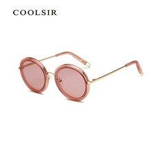 ef9d711b9 2018 de lujo gafas de sol mujer Marca Diseño ronda transparente gafas metal  marco Rosa gafas transparente gafas de sol mujer 826.
