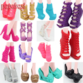 5Pairs/Lot Fashion Shoes For Monster Dolls Beautiful High Heels Monster Doll Sandals Boots Mixed-Style Shoes
