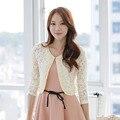 2017 Nueva Corea moda de las mujeres chal de encaje de Gran tamaño de las mujeres del mantón cardigan cielo abierto del cordón con cuentas de manga larga de las señoras