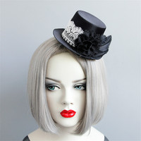 Gothic style Hairclip Lolita Cosplay Steampunk Mini Top makeup party cocktail party headpiece witch hat stage show rose silk hat