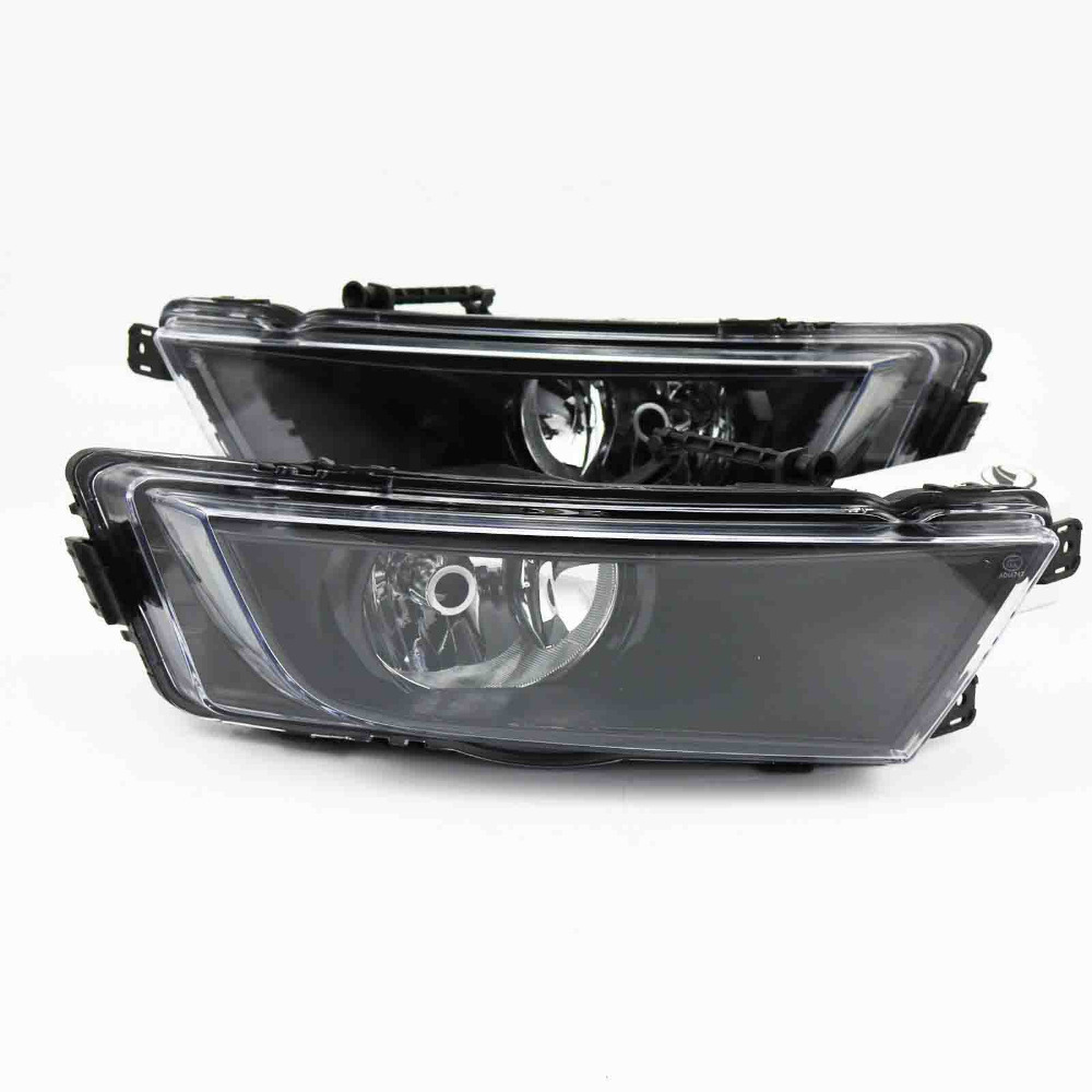 2Pcs Car Styling For Octavia A7 2013 2014 2015 2016 Front Halogen Fog Light Fog Lamp Black With Bulbs givenchy 2014 12g 2 7