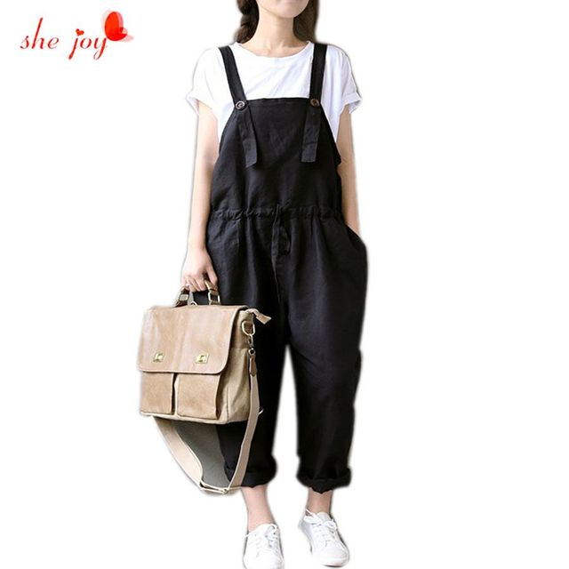 cf6953a70df Casual Black Women Linen Rompers Vintage Loose Female Harem Pants New  Summer Spring Slim Lady Full Length Clothing