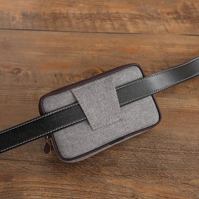 Cowboy Canvas Phone Pouch Belt Clip Bag for Samsung Case with Pen Holder Waist Bag Outdoor Sport 4