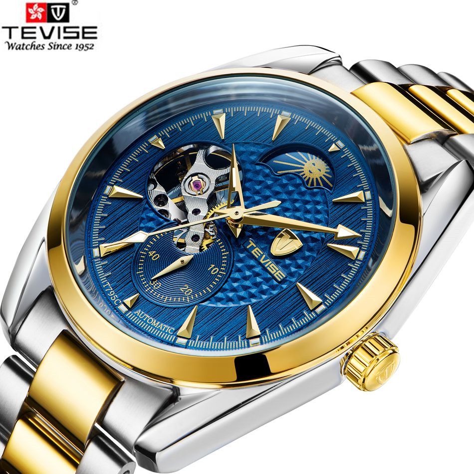 Tevise New Luxury Men Pattern Moonpahse Flywheel Automatic Mechanical Watch Wristwatch Xmas Gift Box Free Ship original tevise famous men s watches brand luxury men s 6 hands auto mechanical wristwatch gift box free ship