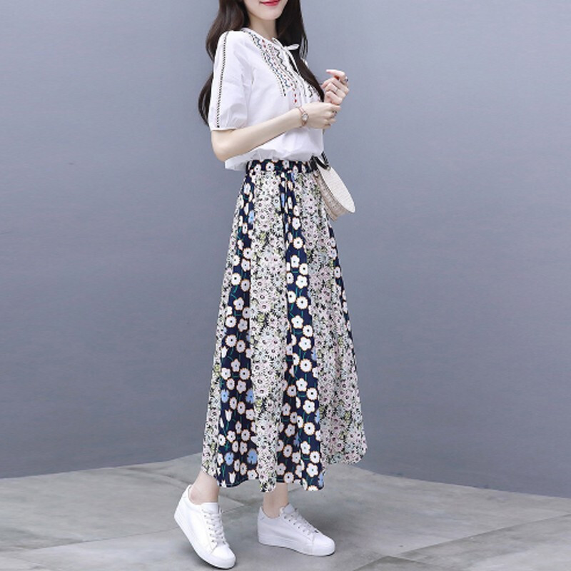 2019 Summer Two Piece Sets Women Embroidery Short Sleeve Tops And Printed Pleated A-line Skirt Suits Casual Elegant Fashion Sets 32