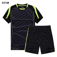 AXFAM Men's Soccer Sets Jerseys shorts survetement football 2017 Short Sleeve Breathable Football uniform Training Wear JUN811