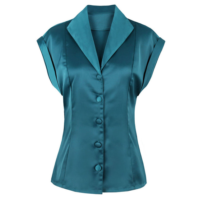 9f8ba37fa6f2fc Kenancy Women Vintage Shirts Lapel Top Sleeveless Elegant Blouse Button Fly  Design Retro Satins Blouses &