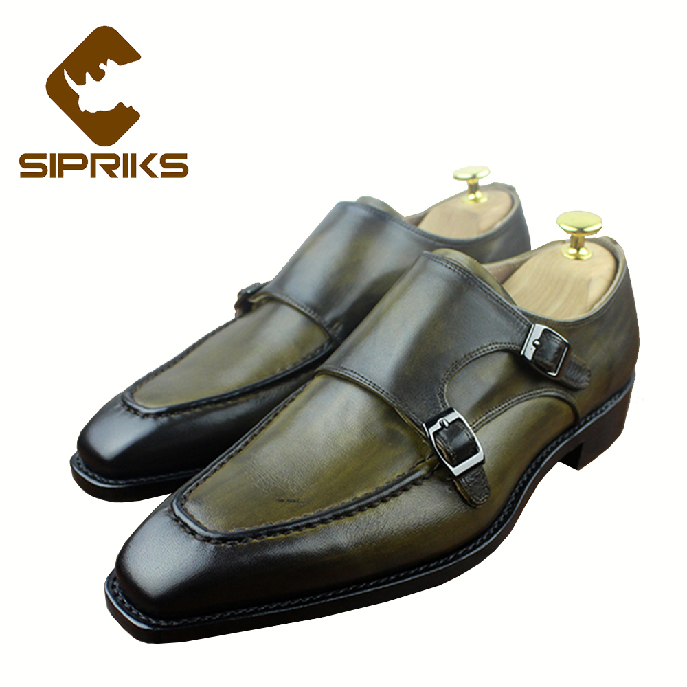 Sipriks Mens Goodyear Welted Shoes Italian Painted Yellow Brown Double Monk Strap Shoes Luxury Mens Cow Leather Dress Shoes New