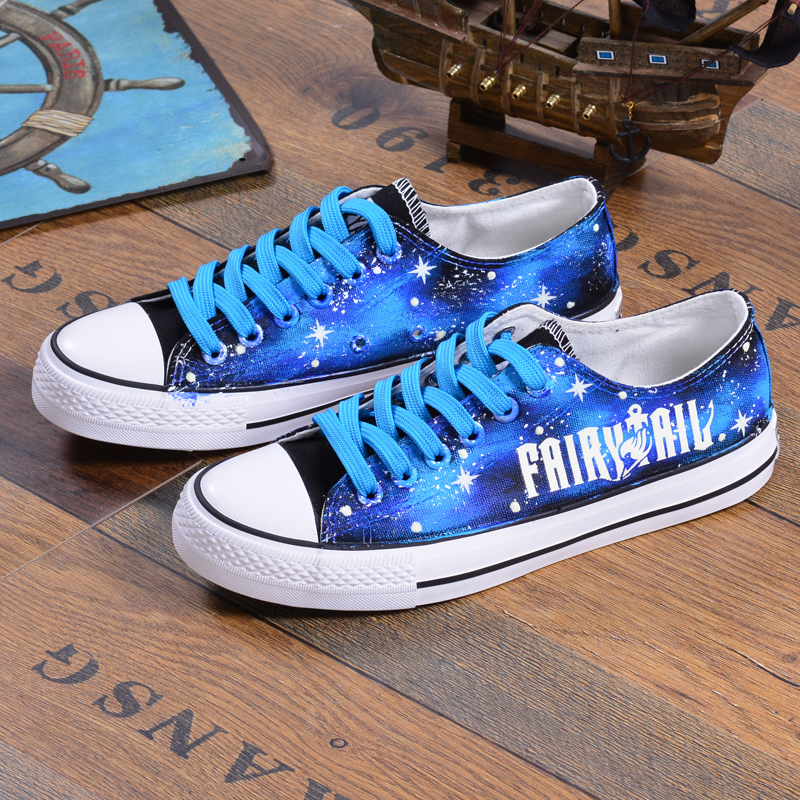 FAIRY TAIL Cosplay Shoes Natsu Logo Luminous Canvas Shoes For Adult Women Sport Shoes