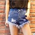 Novo 2017 Retro Tassel Ripped Pockets Cintura Alta Verão Zipper Ocasional Da Forma Das Mulheres Sexy Buraco Denim Shorts Plus Size C167
