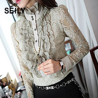 Seily 2018 Fashion Plus Size Long Sleeve Lace Elegant Tops Vintage Palace Ruffle Stand Collar Shirt Office Women Wear Blouse