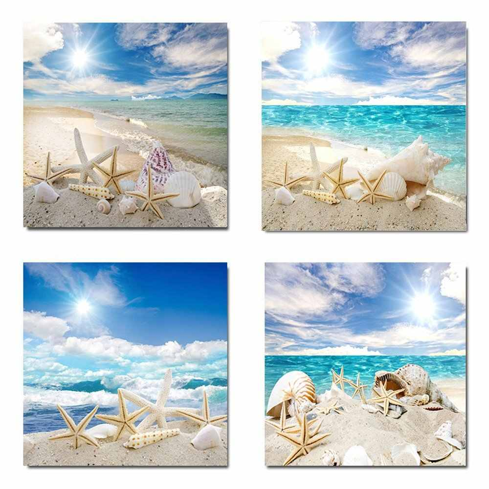 4 Panel Sea Beach Modular Canvas Paintings Wall Art Modern Print Picture Shells Landscape Living Room Poster Home Decor