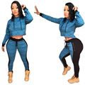 Sexy Women  Sets Clothing Winter  2 Pieces Set  Women Pant and Top Good Quality Polyester Hooded Causal Clothing YM1125