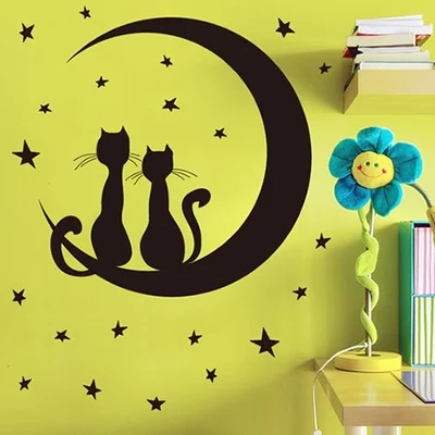 Free shipping Removable Wall Stickers Cat and Moon and Stars Kids Room Home Decoration Wall Decals sticker on the wall JM8256