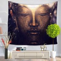 Buddha Statue Series Painted Feather Mandala Home Wall Hanging Beach Blanket