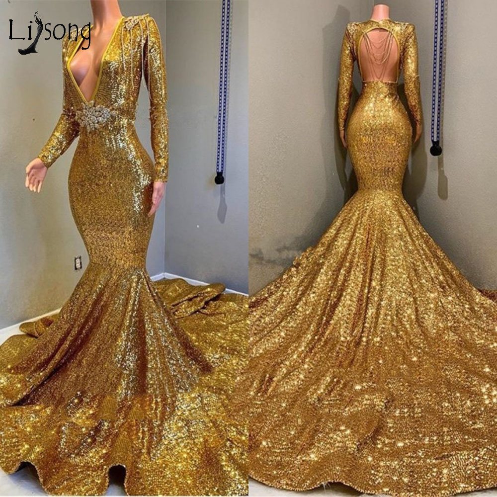Sparkle Gold Sequined Mermaid   Prom     Dresses   2019 Full Sleeves Sexy Backless Beaded Crystal   Prom   Gowns Luxury Formal Party   Dress