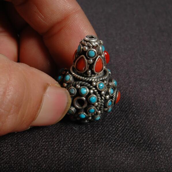 Perle de gourou en argent 925 népalais artisanale gourou tibétain Mala trois perles trouées pour perles de chapelet bouddhiste