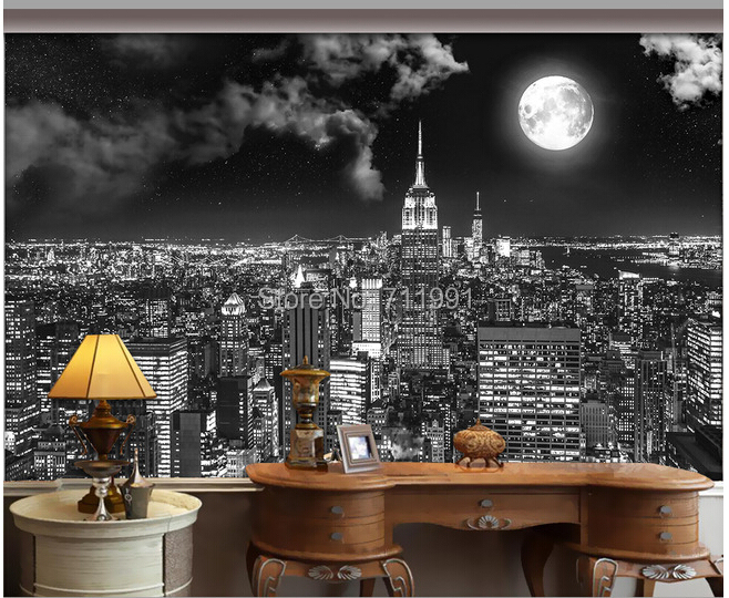 Custom vintage wall wallpaper New York city night for the living room sofa backdrop waterproof vinyl wallpaper 3D wallpaper custom baby wallpaper snow white and the seven dwarfs bedroom for the children s room mural backdrop stereoscopic 3d