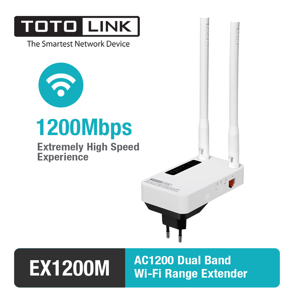 TOTOLINK EX1200M 11AC 1200 Mbps Range Extender, WiFi Repeater, WiFi Booster mit 2 * 5dBi Externe Antennen