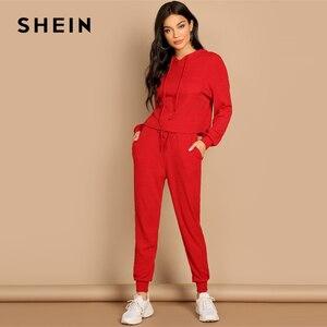 Image 1 - שיין אדום כיס שתוקנה מוצק הסווטשרט ומותני שרוך מכנסיים רגיל סט נשים שתי חתיכות סטי 2019 סתיו רגיל Twopiece