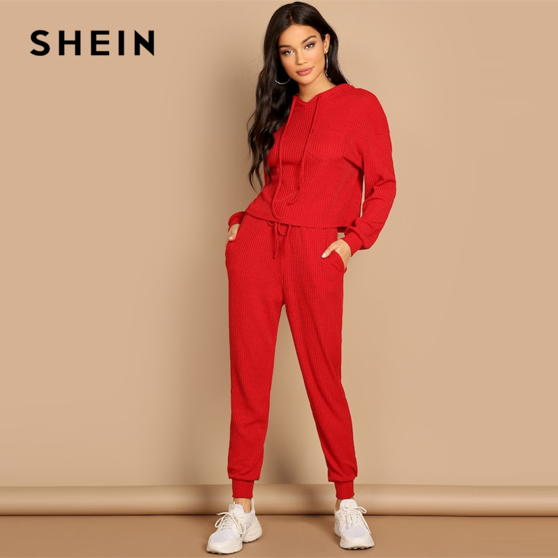 SHEIN Red Pocket Patched Solid Hoodie And Drawstring Waist Pants Plain Set Women Two Pieces Sets 2019 Autumn Plain Twopiece
