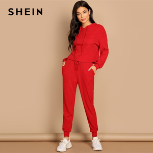 Image 1 - SHEIN Red Pocket Patched Solid Hoodie and Drawstring Waist Pants Plain Set Women Two Pieces Sets 2019 Autumn Plain Twopiece