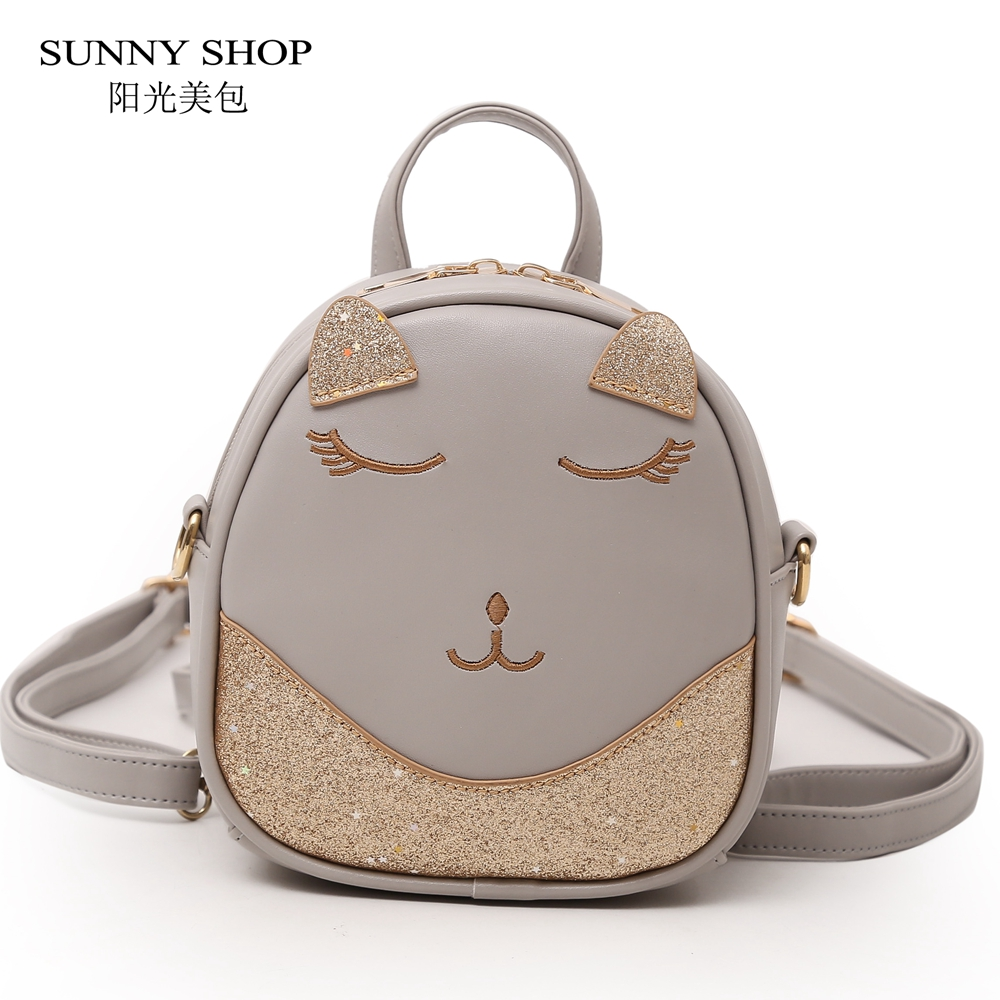 SUNNY SHOP Cute Kawaii Backpack Cartoon Mini Female Backpack With Sequins PU Leather Bagpack Sparkles Shinny Little Girls 2018