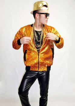 Newly Men's personality Colorful Laser Gold Sequins Baseball  jacket costumes hiohop jazz danceer wear