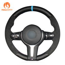 XuJi Black Genuine Leather Black Suede Car Steering Wheel Cover for BMW F33 428i 2015 F30 320d 328i 330i 2016 M3 M4 2014-2016