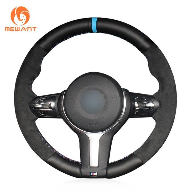 Housse de volant noire en cuir et daim véritable, pour BMW M Sport F30 F31 F34 F10 F11 F07 F45 F46 F22 F23 M235i M240i