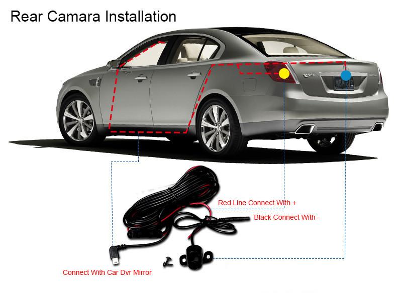 E-ACE Car Dvr 1080P Dual Lens Dash Camera Rear Mirror Digital Recorder With Rearview Camera Video Recorder Camcorder Registrar 32