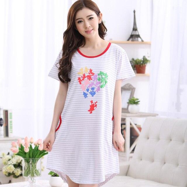 2017 Summer Nightwear Women s Nightgowns Sleepshirts Cartoon Nightdress  Girl Sleepwear Femme Pyjamas Women Lounge Striped Dress d1796a935