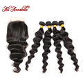 Peruvian Loose Wave Virgin Hair With Closure Peruvian Loose Wave With Closure 4 Bundles Human Hair With Lace Closure