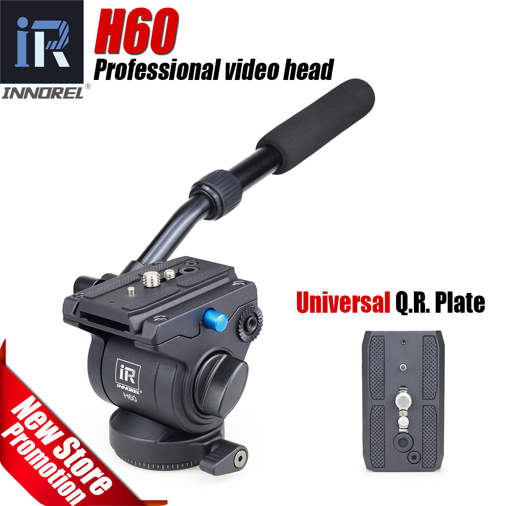 H60 Panoramic tripod head Hydraulic fluid video head for monopod slider Photography Hydraulic Head Three-dimensional Tripod Head 360┬░ two handle hydraulic damping three dimensional tripod head for camera black
