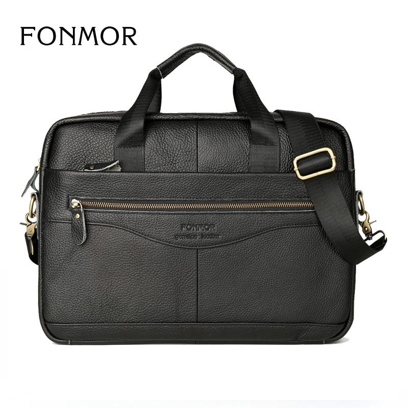 Men Leather Briefcase Laptop Bag Male Genuine
