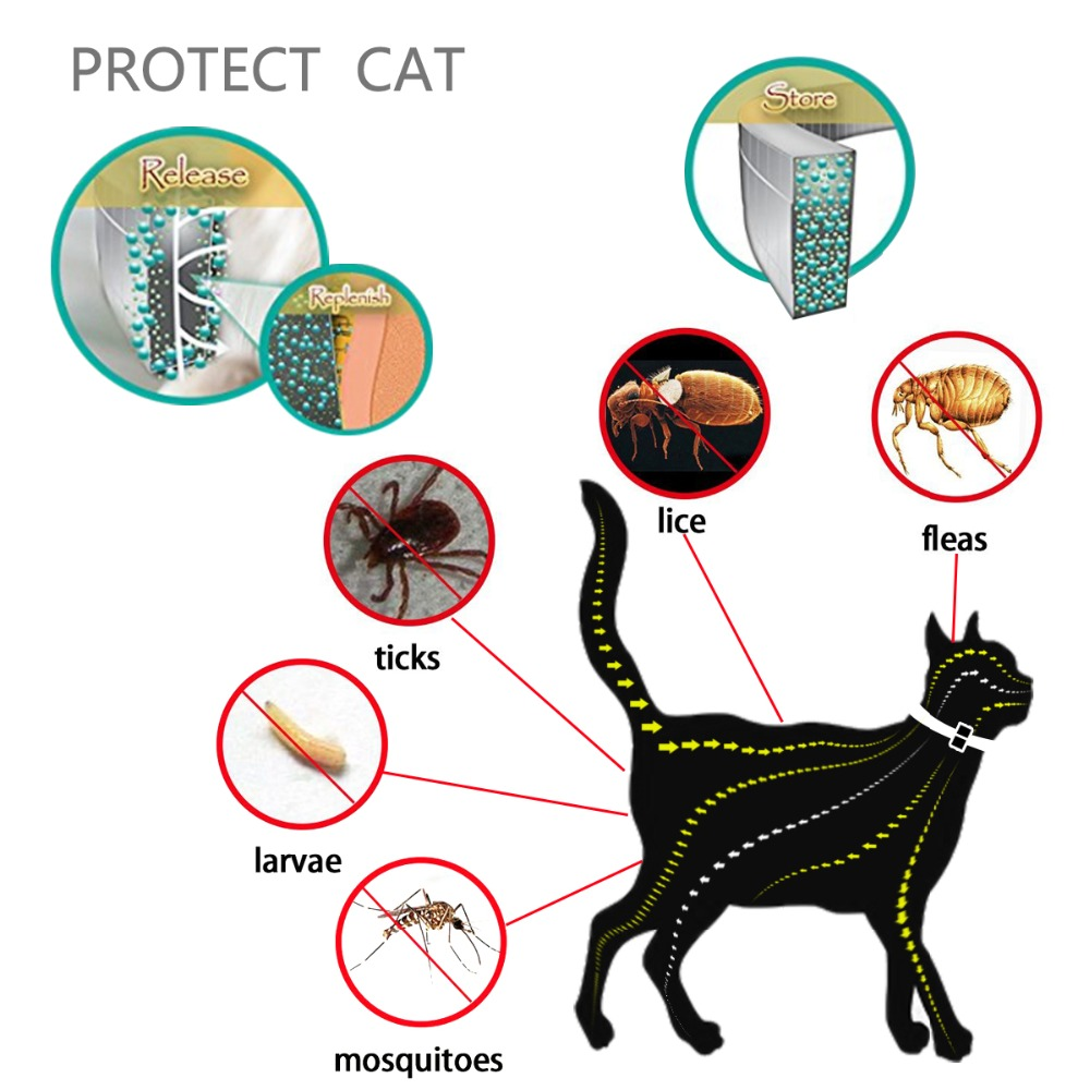 Dewel Cat Dog Collar Anti Flea Ticks Mosquitoes Outdoor Protective Adjustable PET Collar 8 Months Long-term Protection 10