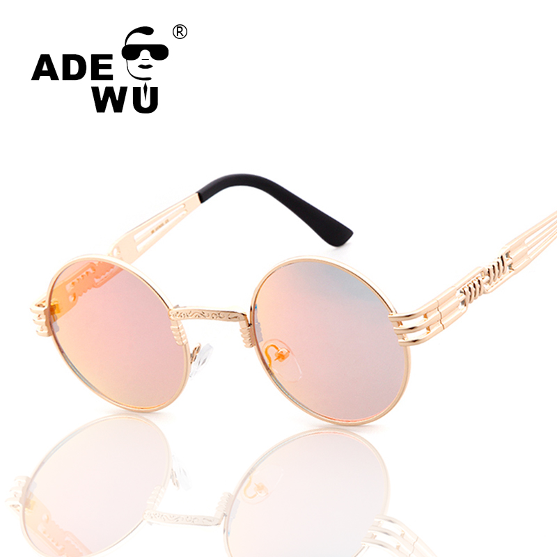 ADE WU Brand Steampunk Sunglasses Women Men Round Retro Male Female Sun Glasses UV400 Mirror Sunglass lunettes de soleil pour